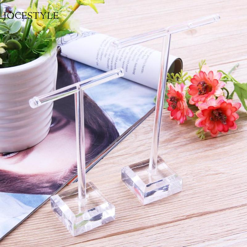 Earrings Jewelry Display T Bar Stand Holder Rack Organic Glass 2Pcs
