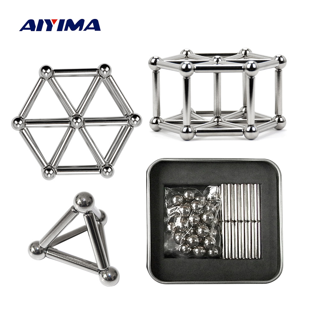 Aiyima 1sSt 3D Creative Neodymium Magnet Imanes NdFeB 36Pcs Magnets Rod And 27Pcs Steel Balls Aimant DIY Beads Gifts 8mm neodymium magnet sphere steel balls diy puzzle set silver 20 pcs
