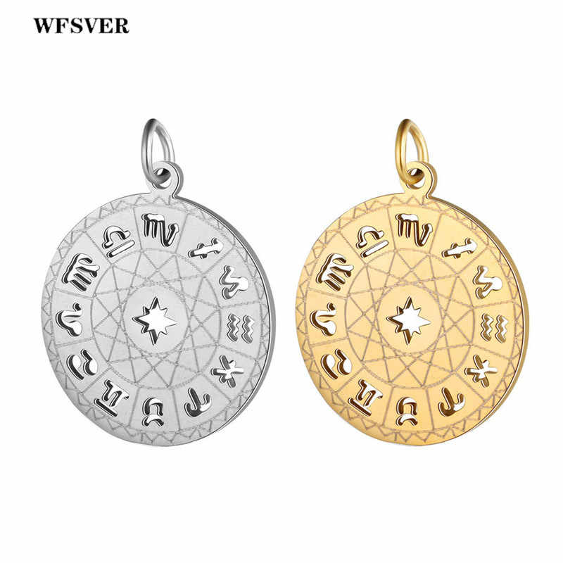 WFSVER 5pc/lot gold/silver stainless steel 12 constellations pendant charms accessories for women DIY necklace jewelry making