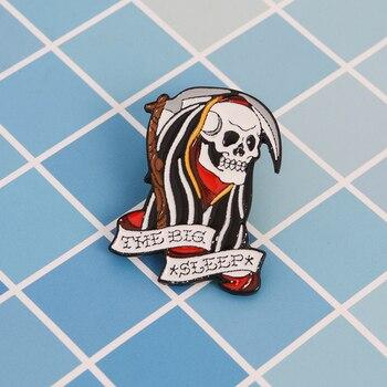Broche de esmalte de la muerte del esqueleto de Grim Reaper para regalo para Amiga punk oscuro icono pin Botón-Pin de solapa para la ropa bolsa broches