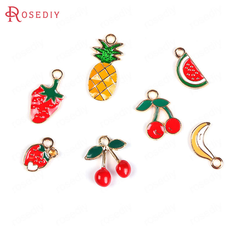 20PCS Zinc Alloy Painting Color Watermelon Cherry Pineapple Strawberry Banana Fruit Charms Jewelry Findings Earrings Accessories