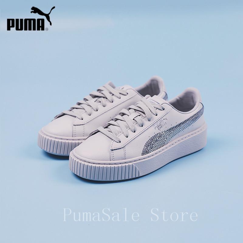 bcee57b771fa3a PUMA Basket Heart Bling JR 366847-02 Women Badminton Shoes Fish Scale  Sequins Women's Sneakers Light Grey Color Size 35.5-40