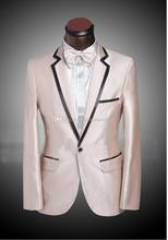 Latest Design Custom Made One Button notch Lapel champagne Groom Tuxedos Groomsmen Wedding men Suits For Men (Jacket+Pants+Tie)