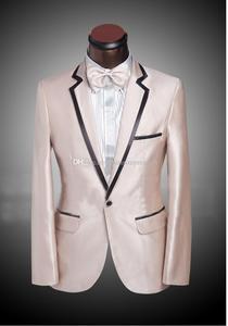 Image 1 - Mais recente Projeto Custom Made One Button champanhe notch Lapela Do Noivo Smoking Padrinhos homens Ternos de Casamento Para Os Homens (Jacket + calça + Gravata)