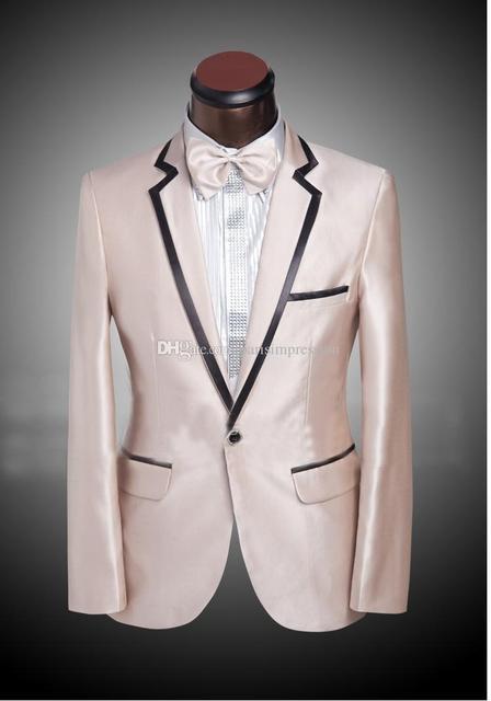 האחרון עיצוב תפור לפי מידה אחת כפתור notch דש שמפניה חתן טוקסידו השושבינים חתונה גברים חליפות גברים (מעיל + מכנסיים + עניבה)