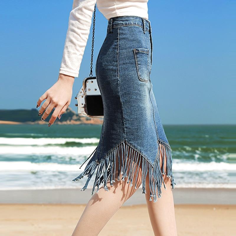 Pencil Sweet Knee-Length Skirts Women 2019 New Tassel Skirt Streetwear Fashion Elastic Skinny Jean Skirt  Sexy Sweet Student
