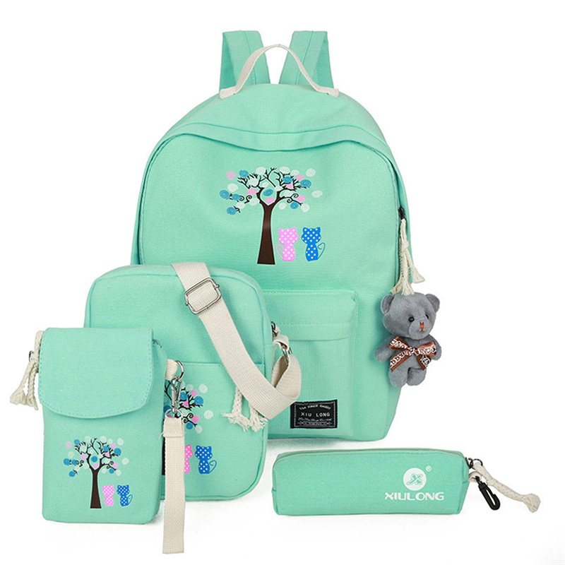 Canvas Printing Cartoon SchoolBags Fashion 5 Piece / Set Backpack Women School Bags For Teenage Girls 30%Off T404