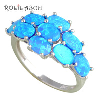 Captivating Blue Fire Opal 925 Silver Rings For Women Royal Fashion Jewelry Widding Ring USA 7