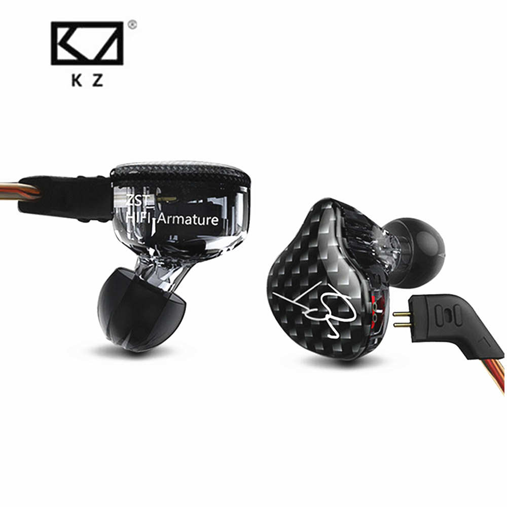 New KZ ZST Balanced Armature With Dynamic In-ear Earphone BA Driver Noise Cancelling Headset With Mic Replacement Cable