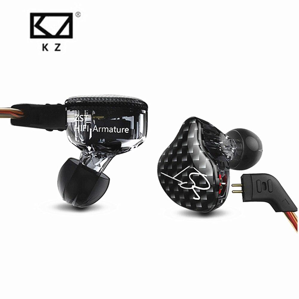 Nuovo KZ ZST Balanced Armature Con Dinamiche In-Ear Auricolare BA Driver Noise Cancelling Auricolare Con Il Mic Cable Replacement