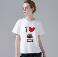 2017 Women T Shirt Funny Feminina I Love Nutella Foto Design Printed Female Hipster O Neck