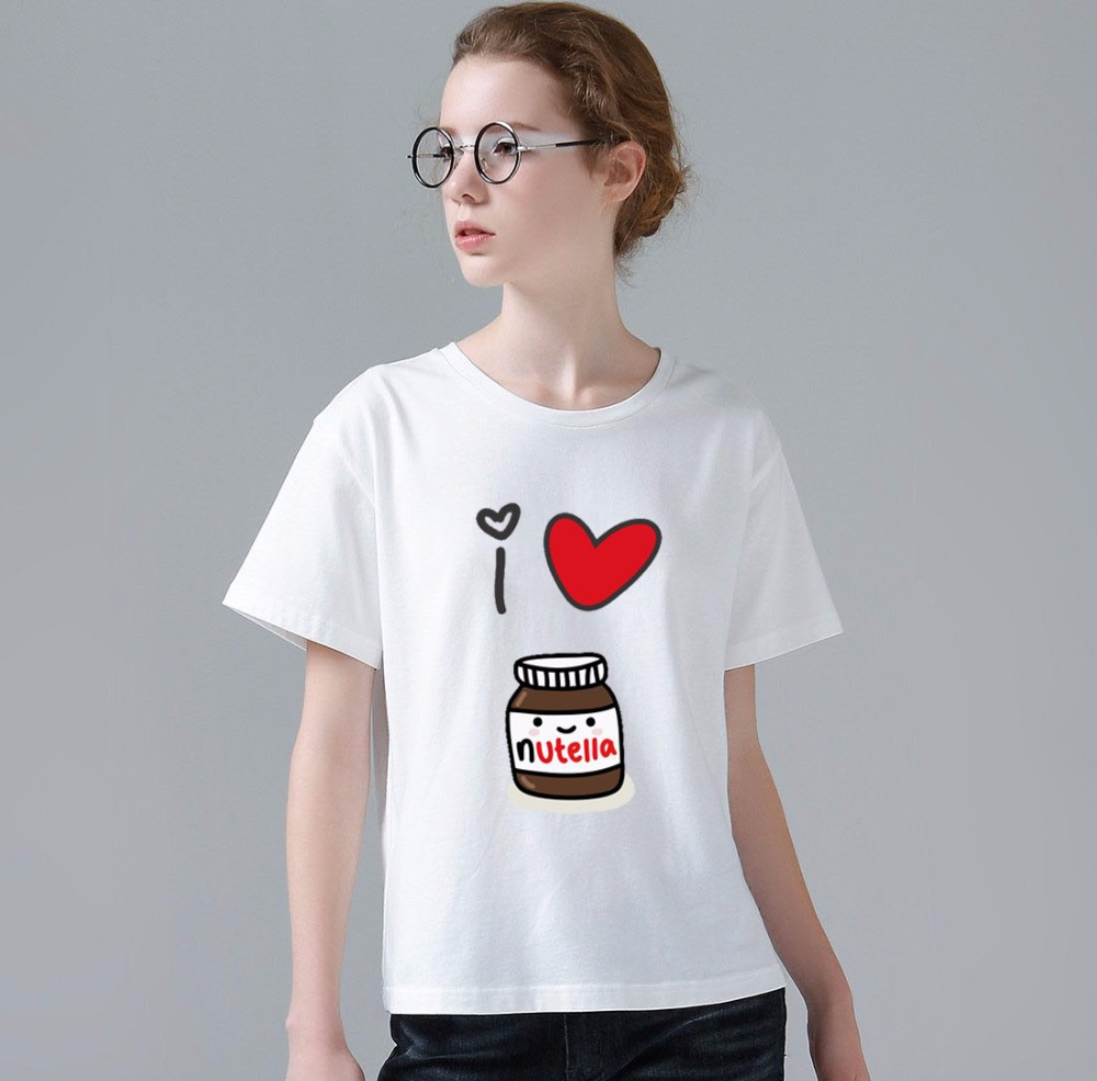 2017 Women T Shirt Funny Feminina I Love Nutella Foto ...