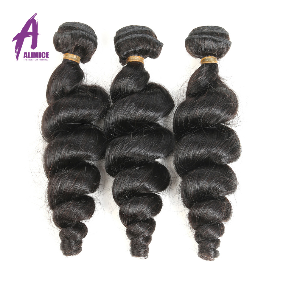 Loose Wave 3 Bundles Brazilian Hair Weave 8-30 Inch Hair Extensions Brazilian Human Hair Bundles Natural Color Non Remy Hair