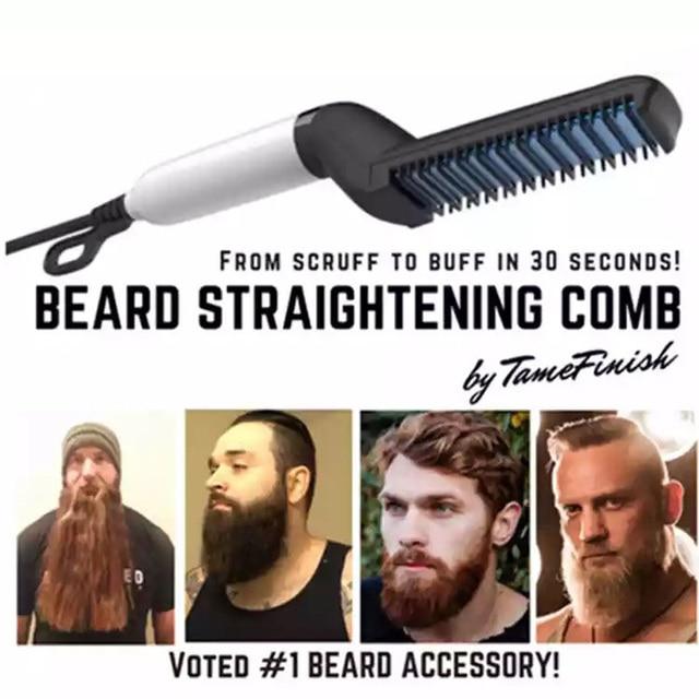 La barba de los hombres plancha estilo peine de Curling recto herramienta pelo Pelo eléctrico Styler cepillo para hombres permanente peine