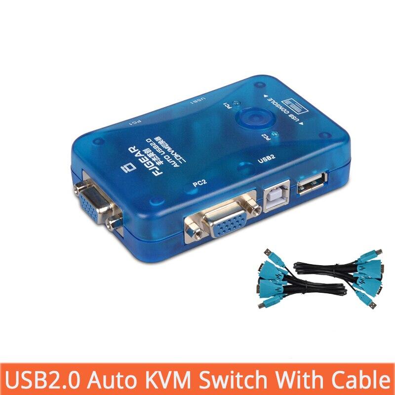 2 porte vga interruttore Auto kvm USB Splitter Auto Stampante Controller Tastiera Del Mouse Fino a 1920*1440 Spedizione Gratuita con Cavo