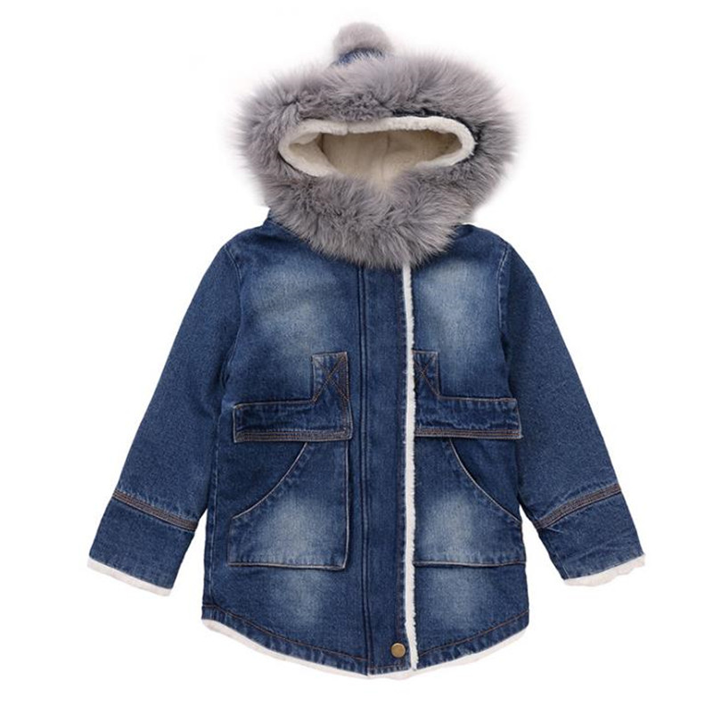 DFXD Children Girls Winter Clothes Baby Long Sleeve Big Fur Collar Jeans Jacket Coat Thick High Quality Zipper Warm Outwear 2-8Y 2017 winter kid super large raccoon fur collar jacket girls pink hooded cotton jacket high quality kids thick warm coat 17n1120