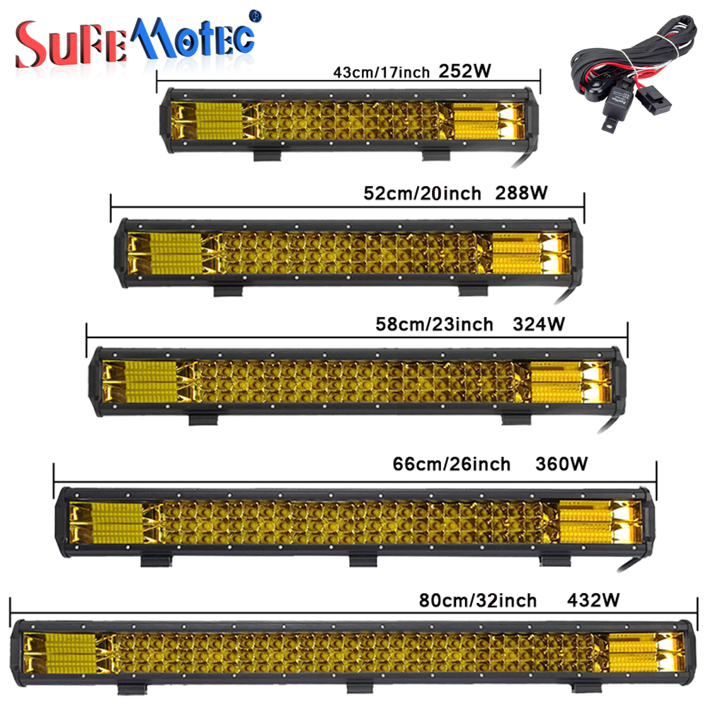 17 20 23 26 32 Inch 360W Triple Row LED Work Light Bar Amber Combo Fog Drive Lamps For Offroad Trucks Boat ATV 4x4 4WD Marine