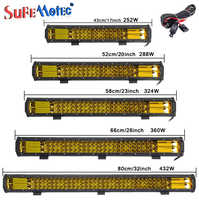 17 20 23 26 32 inch 360W Triple Row LED Work Light Bar Amber Combo Fog Drive Lamps for Offroad Trucks Boat ATV 4x4 4WD Marine