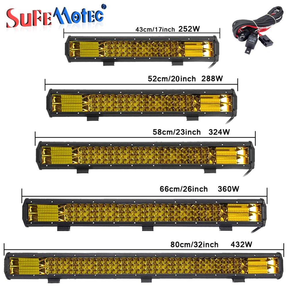 17 20 23 26 32 polegada 360 w Triplo Row Unidade Combo Fog Lâmpadas LED Âmbar Barra de Luz de Trabalho para caminhões Offroad Boat ATV 4x4 4WD Marinhos