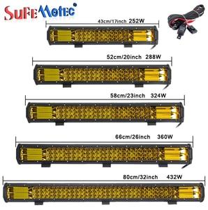 Image 1 - 17 20 23 26 32 polegada 360 w triple row led barra de luz trabalho âmbar combo nevoeiro drive lâmpadas para caminhões offroad barco atv 4x4 4wd marinha