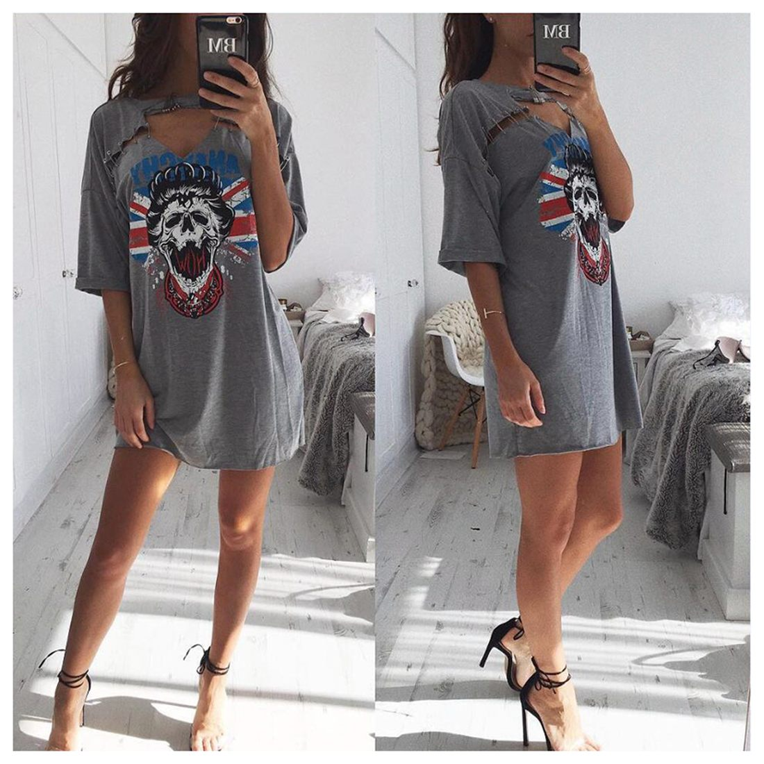 02f66306bd97 Women's Printed T-shirt Dress Sexy Casual Hollow Out Half Sleeves deep  V-neck