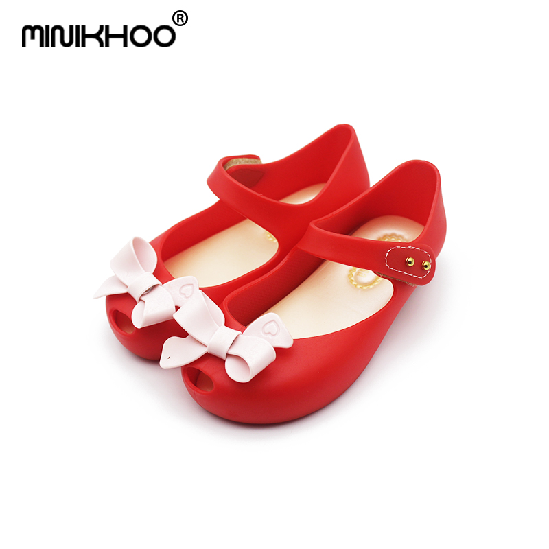 Mini Melissa Bow Jelly Shoes 2018 New Summer Children Jelly Sandals Soft Bottom Girl Princess Sandals Melissa Non-slip 15cm-18cm
