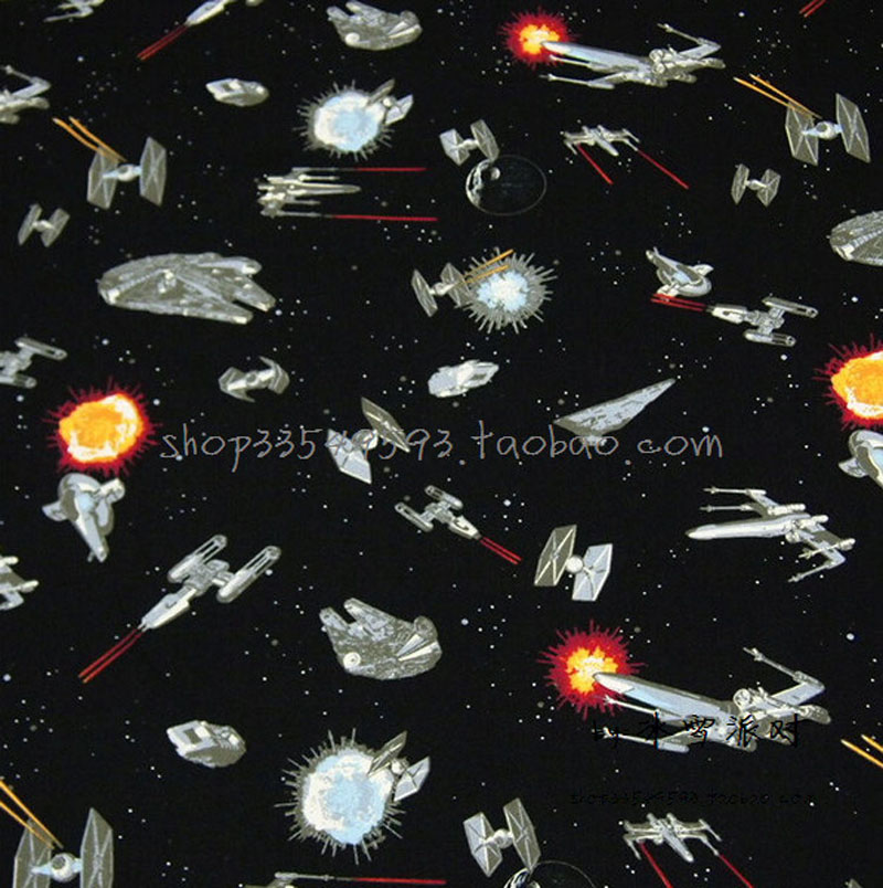 140 50cm 1pc spacecraft star wars fabric 100 cotton star for Space baby fabric