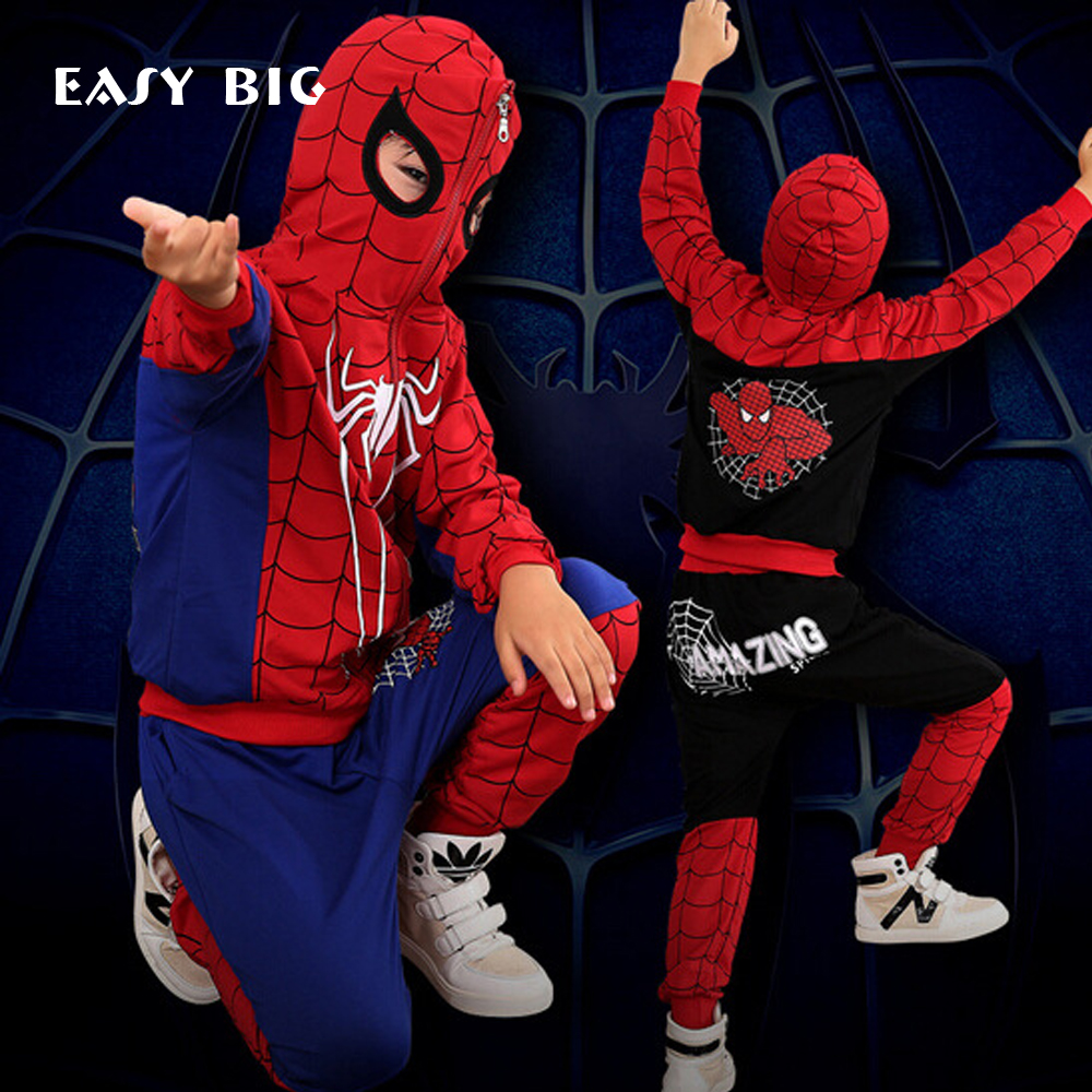 New Spider Man Children Clothing Sets Boys Spiderman Cosplay Sport Suit Kids Sets jacket + pants 2pcs. Boys Clothes CC0007 spider man style surfing clothes for 3 10y little boys kids one piece beachwear swimwear high quality children clothing