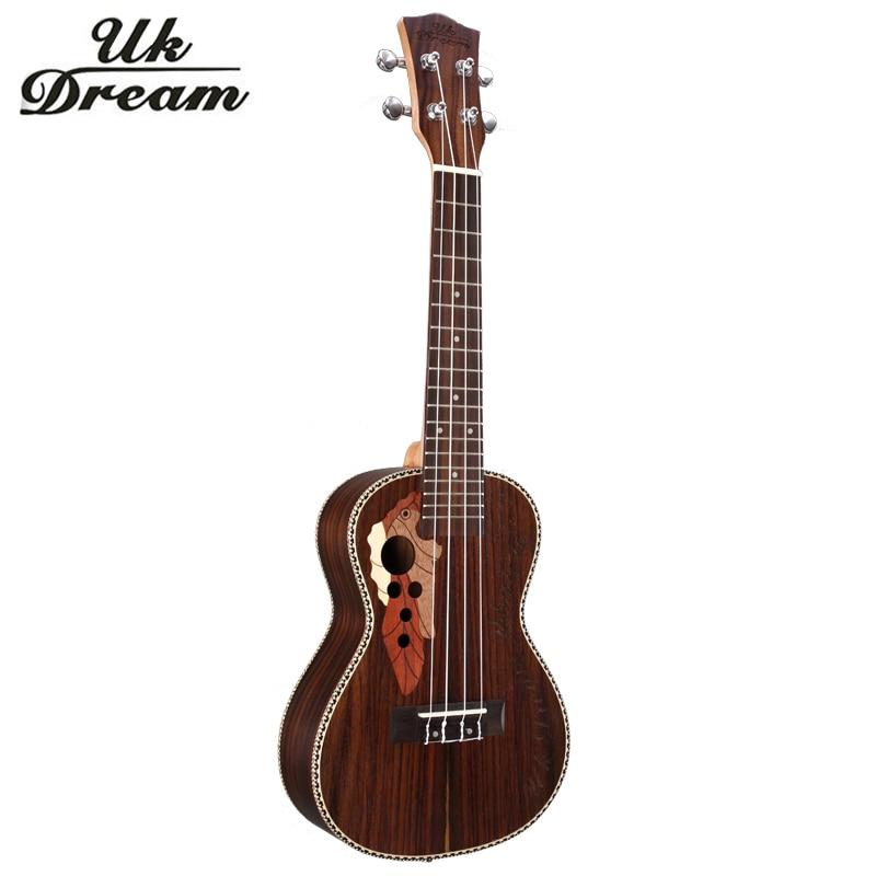 Ukulélé 23 pouces 4 cordes guitare acoustique marron Instruments de musique classique frange bouton fermé bois de rose Guitarra Ukelele UC-73M