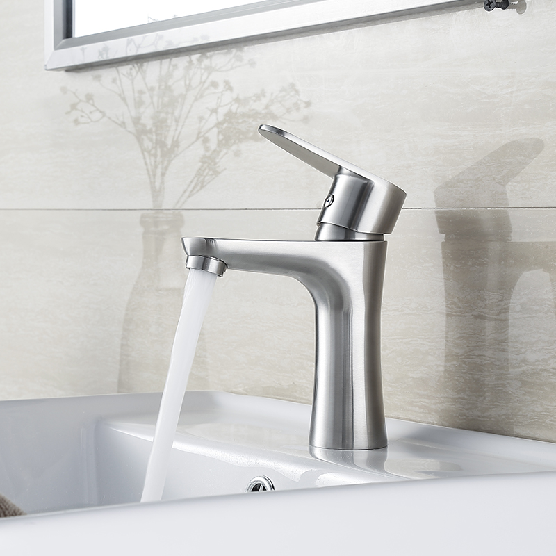 Blh 523 Brushed Nickel Single Hole Bathroom Basin Faucet Hot Cold Water Tap High Class Modern Design