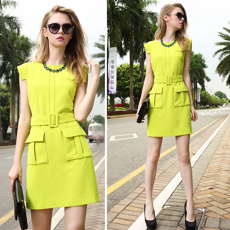 Neon yellow color dress