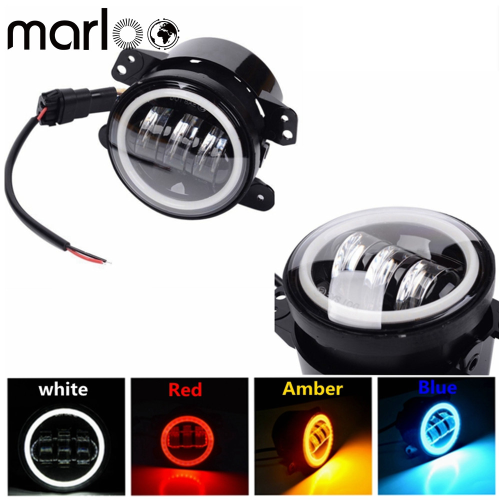 Marloo 4 inch Led Fog Lights DRL Halo For Jeep Wrangler JK TJ LJ Dodge Journey Magnum Charger Jeep Grand Cherokee Chrysler 300 чехлы для huawei mate 2