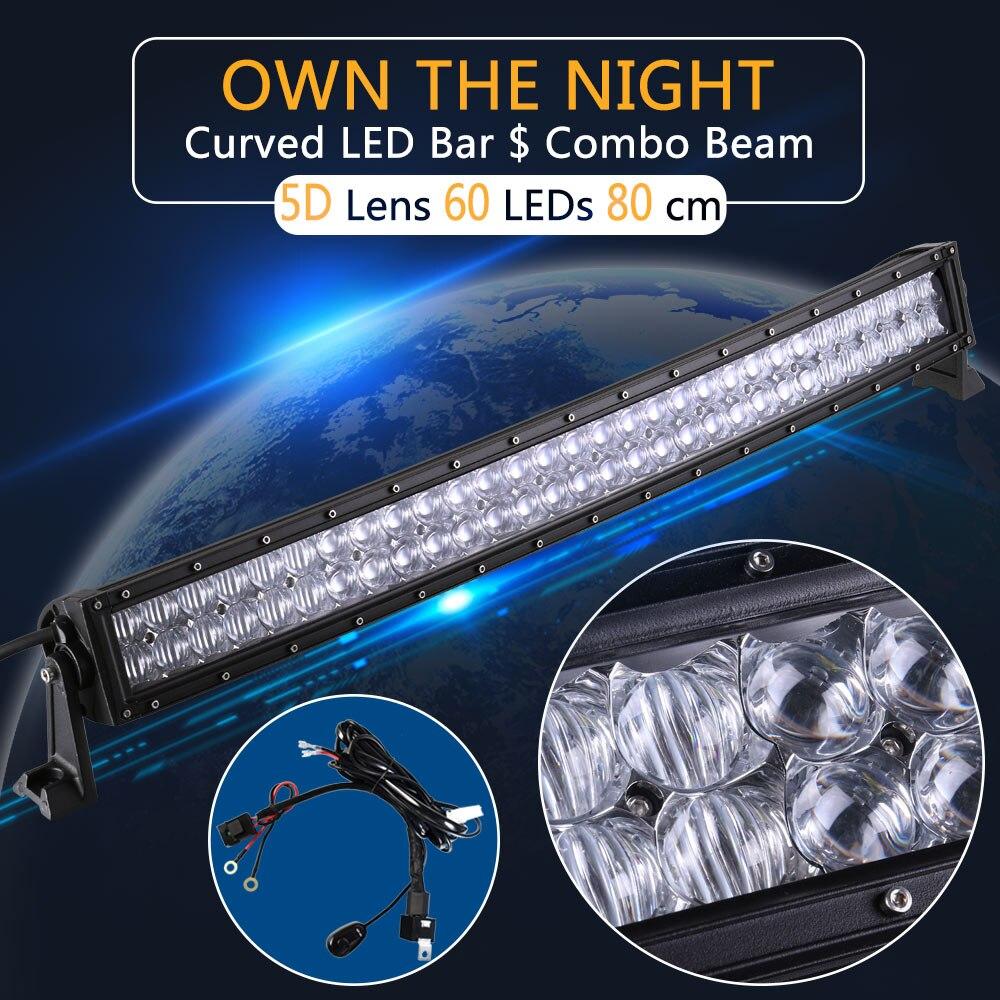 Pouvoir réel 5D 32 Pouce Courbe LED Light Bar avec Fil Kit 12 V 24 V Combo Faisceau pour Offroad Bateau Voiture Camion ATV SUV 4WD 4x4 Travail lampe