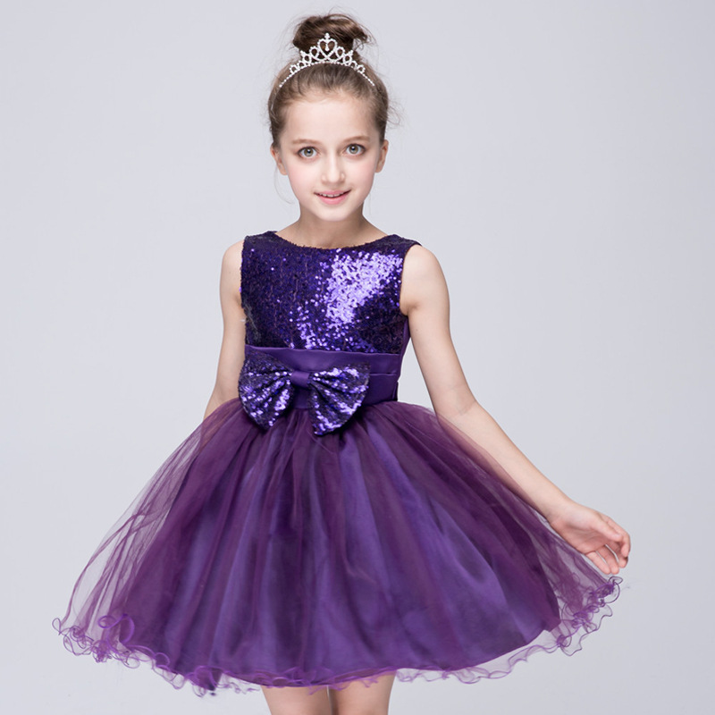 Big Sales! Hot Sale Toddler Girls Princess Girls Wholesale Glitter Sequined Bling Big Bowknot Decor Ball Gown Cute Dress la mer collections lmduo1003x