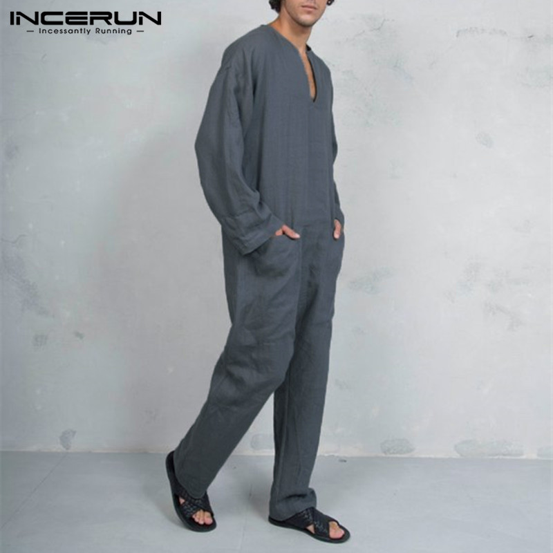 INCERUN Mens Jumpers Fashion Jumpsuits V Neck Spring Autumn Overalls Working Trousers Pockets Oversized Overalls Muslim Kaftan
