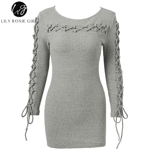 Lily Rosie Girl Sexy Lace Up Knitted Dress Long Sleeve Slim Mini Women Autumn Sweater Dress Winter 2017 Female Dress Vestidos