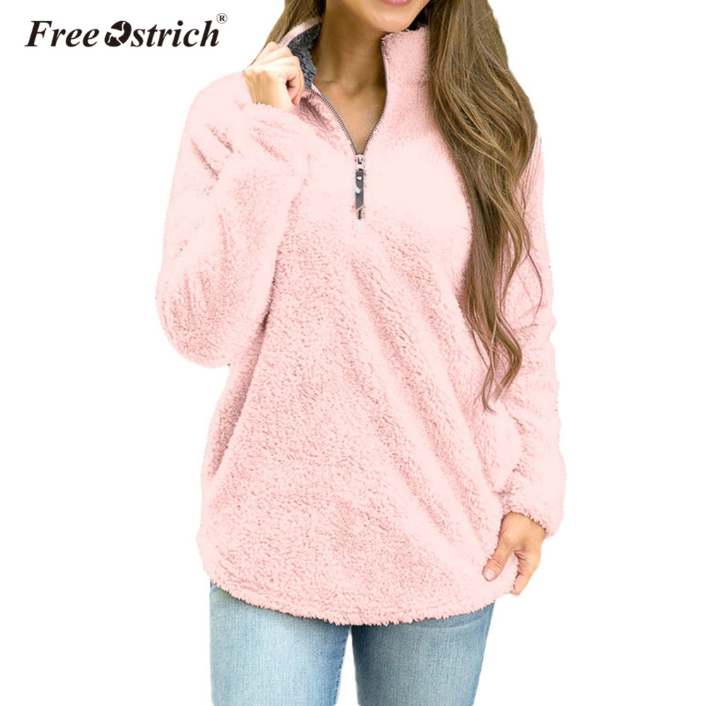 Free Ostrich Sweatshirts Women Hoodie Zip Pullover Pile Stadium Plush Warm Tops Ladies Long-sleeved Pullovers Hoodies A1040