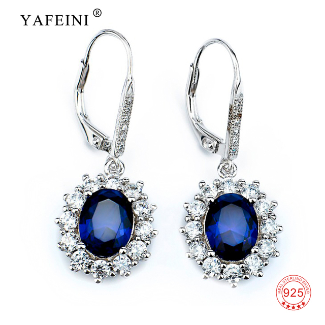 c38fea8ba Women Fashion Blue Sapphire Crystal Water Drop Earrings Romantic Real 925 Sterling  Silver Elegant Dangle Earrings For Girl Gift