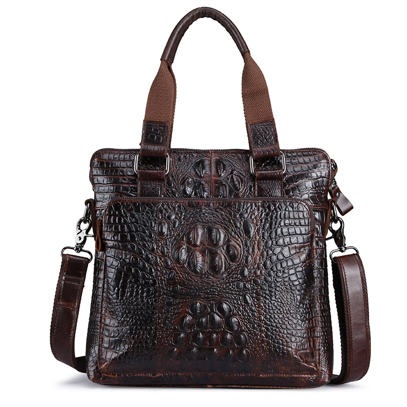 ФОТО Maillusion Men Vintage Briefcase Business Shoulder Top Cow Genuine Leather Messenger Bags Alligator Casual Tote Male Travel Bags