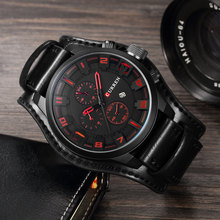 Leather Military Waterproof Sport Watch