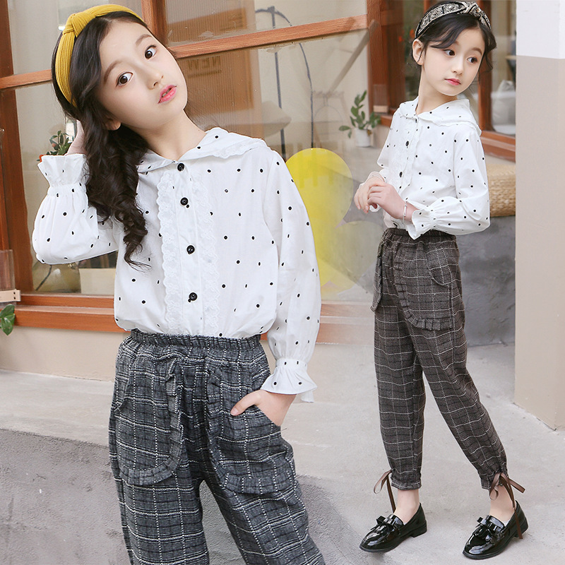 New 2019 Spring Summer Children Girls Clothes Sets Kids 2pcs Suits Children Clothing Suits White Blouses Shirts + Pants CostumeNew 2019 Spring Summer Children Girls Clothes Sets Kids 2pcs Suits Children Clothing Suits White Blouses Shirts + Pants Costume