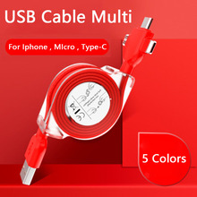 3 in 1 Retractable Multi USB Charging Cable For Iphone Micro Type C Charger for Xiaomi Redmi Note 5/S2 Samsung