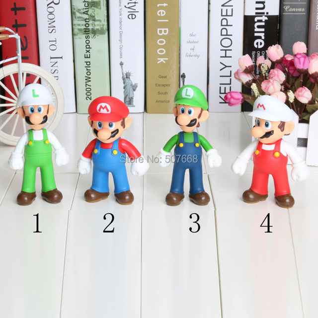 Super Mario PVC Figure Mario Luigi Fire Mario Fire Luigi Figure Toy Dolls 4 Styles Free Shipping 20/LOT