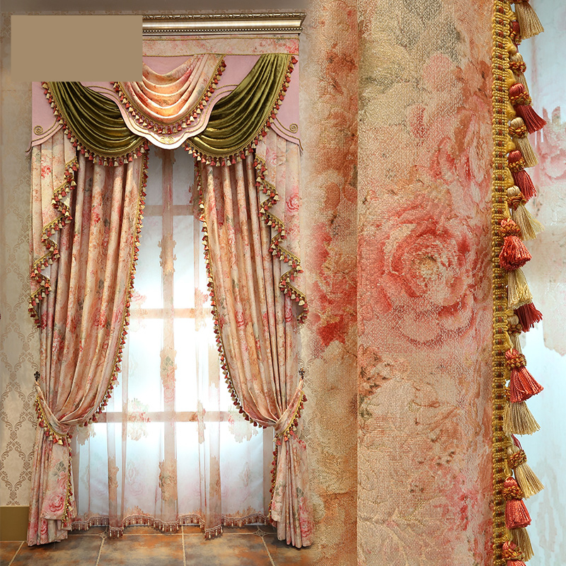 custom curtains luxury European style garden curtain jacquard fashion floral living room curtain