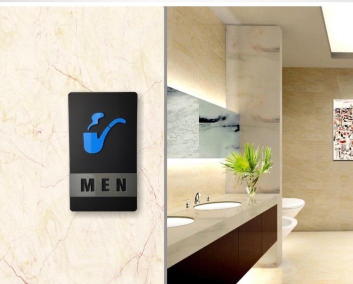 2pcs/Set 210x120mm Acrylic Stereo Door Plate  Toilet High Heel Tobacco Pipe Bathroom Acrylic Sign