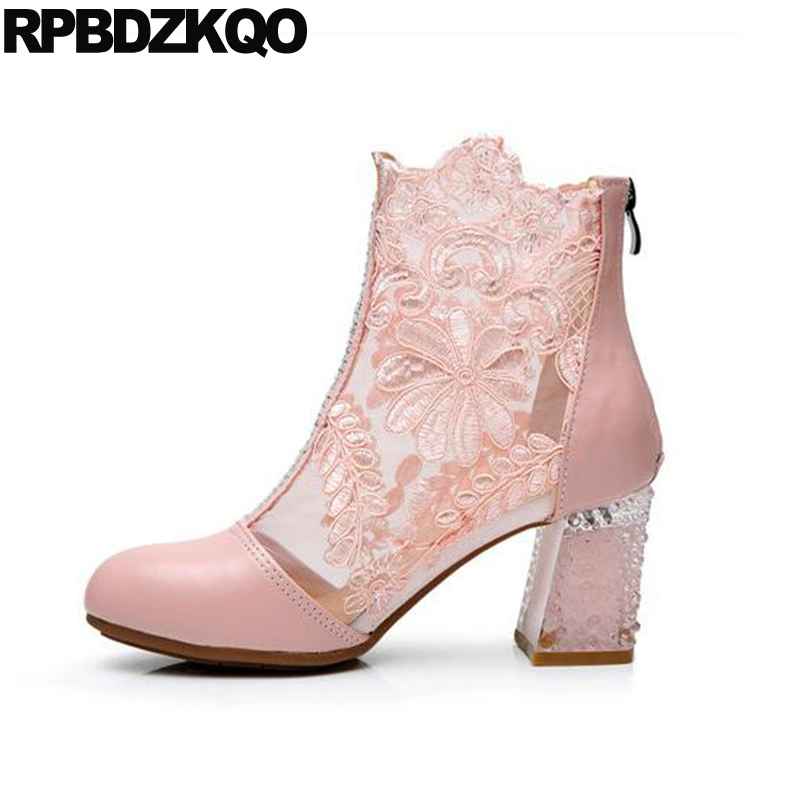 Lace Shoes Ankle Booties Pink Summer Rhinestone Mesh Bridal Chunky Crystal  White Wedding Boots Sandals High Heel Suede Big Size-in Ankle Boots from  Shoes on ... bc8fb58188ba