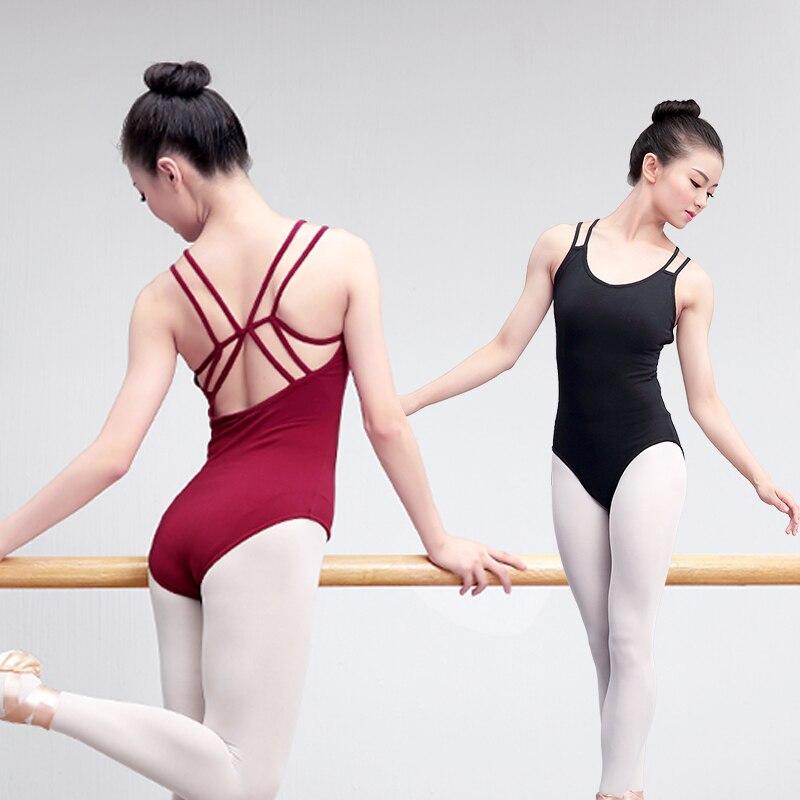 Women Ballet Leotards Double Straps Gymnastics Leotard Dance Bodysuit Cotton Spandex Ballerina Dance Wear