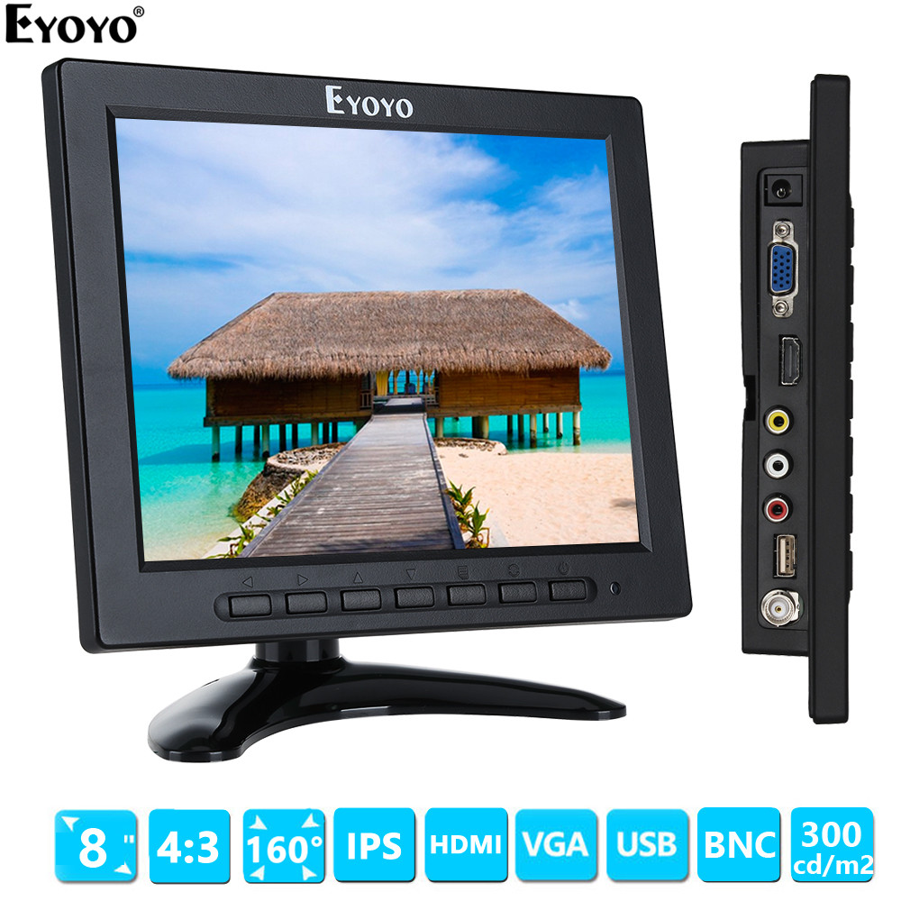 Eyoyo EM08A 8 inch 1024x768 LCD 4:3 Color Monitor Support 1080P HDMI input Screen HDMI VGA BNC AV for PC CCTV DVREyoyo EM08A 8 inch 1024x768 LCD 4:3 Color Monitor Support 1080P HDMI input Screen HDMI VGA BNC AV for PC CCTV DVR