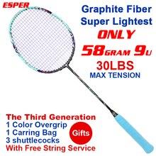 Esper бадминтон ракетки 58 грамм супер легкий графитное волокно ракетка углерода волокно для наступления профессионала с подарками