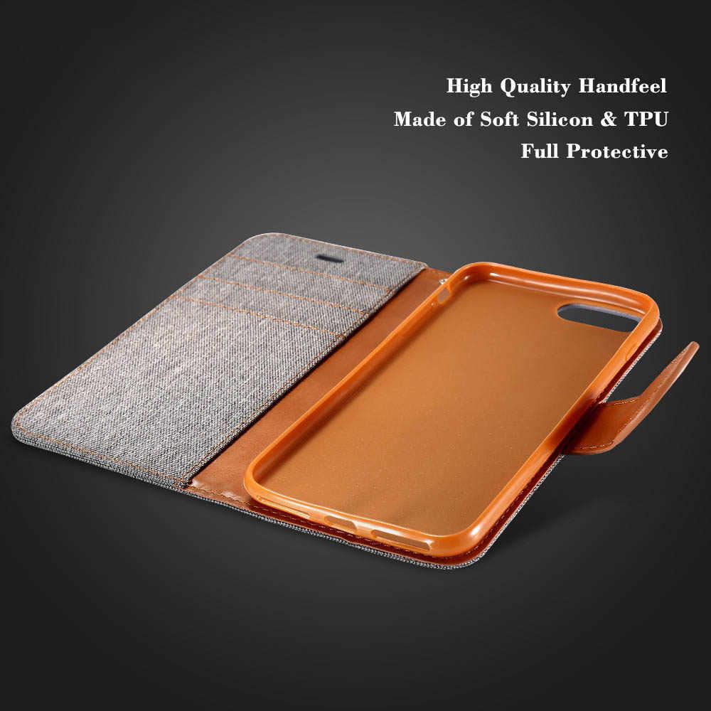 Da PU Dành Cho iPhone X 8 7 6 Plus 5S 5 Tã Vải Đứng Ví Bao Da Flip Cover Dành Cho Samsung galaxy Note 8 S8 Plus S7 S6 Edge
